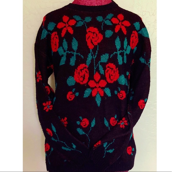 Vintage Sweaters - Vintage Rose Graphic Metallic Sweater